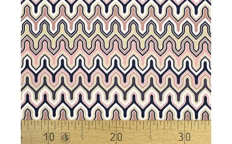 647560-662 Ткань Gutermann Marrakesch Волно-образный рисунок розоватый