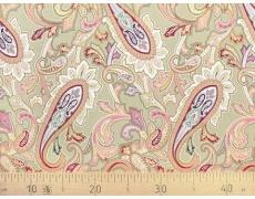 647563-299 Ткань Gutermann Marrakesch Восточный огурец на оливковом фоне