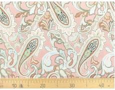 647563-662 Ткань Gutermann Marrakesch Восточный огурец на дымчато-розовом фоне
