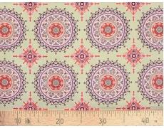 647565-299 Ткань Gutermann Marrakesch Красные Мандалы на горчичном фоне