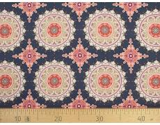 647565-593 Ткань Gutermann Marrakesch Разноцветные Мандалы на темно-синем фоне