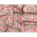 647565-662 Ткань Gutermann Marrakesch Разноцветные Мандалы на дымчато-розовом фоне