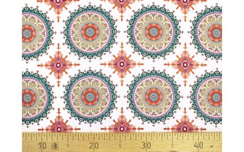 647565-800 Ткань Gutermann Marrakesch Разноцветные Мандалы на белом фоне
