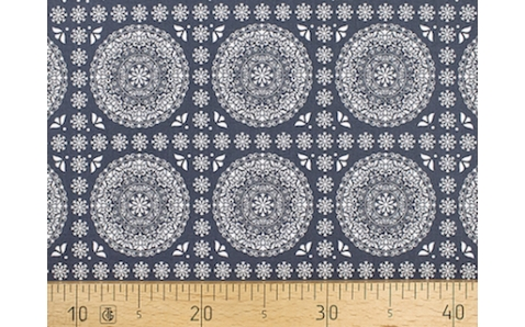647567-593 Ткань Gutermann Marrakesch Контур Мандалы на темно-синем фоне