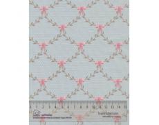 649145-276 Ткань Gutermann With Love Голубой в мелкий горох и бантики