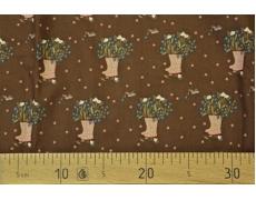 649430-430 Ткань Gutermann Lizzy's Garden Коричневый/букет цветов  в сапогах