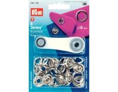 390195 Prym Кнопки Jersey 18мм кольцо (6шт) серебристые