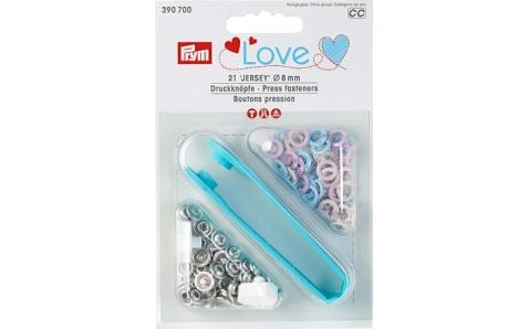 390700 Prym Love Кнопки Jersey кольцо 8мм (21шт), розовые, голубые, жемчужные