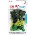 """393001 Prym Love Кнопки """"Color Snaps"""" круглые зеленые, темно-зеленые, салатовые 12,4 мм 30шт."""