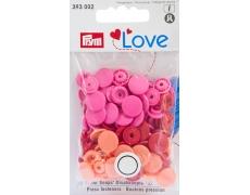 """393002 Prym Love Кнопки """"Color Snaps"""" круглые красные, оранжевые, розовые"""