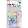 """393030 Prym Love Кнопки """"Color Snaps"""" сердце розовое, голубое, жемчужное 13,6 мм 30шт."""