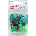 """393005 Prym Love Кнопки """"Color Snaps"""" круглые зеленые,светло-зеленые,коричневые 12,4 мм 30шт."""
