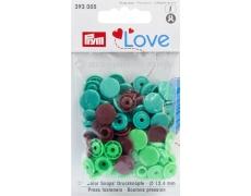 """393005 Prym Love Кнопки """"Color Snaps"""" круглые ассорти (зел,св.зел,коричневые)"""