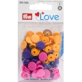 """393006 Prym Love Кнопки """"Color Snaps""""круглые оранжевые, розовые, фиолетовые 12,4 мм 30шт."""