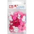 "393031 Prym Love Кнопки ""Color Snaps""сердце белое,красное,розовое 13,6 мм 30шт."