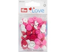 """393031 Prym Love Кнопки """"Color Snaps""""сердце, ассорти (белый,красный,розовый)"""