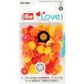 """393080 Prym Love Кнопки """"Color Snaps"""" цветок желтый, красный, оранжевый 13,6 мм 21 шт."""