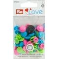 """393081 Prym Love Кнопки """"Color Snaps""""цветок зеленый,розовый,бирюзовый 13,6 мм 21 шт."""