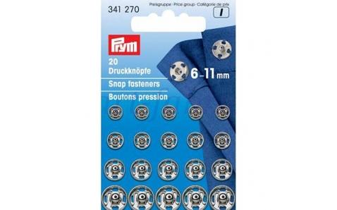 341270 Prym Пришивные кнопки (20шт в блистере) 6-11мм