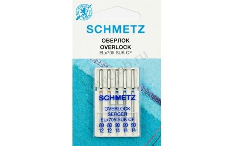 ELX705 SUK CF  Иглы Schmetz к coverlock для трикотажа №80-90 по 5шт.(хромированные)VZS