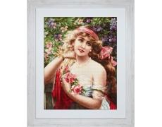 В549 Девушка с розами Н-р для вышивания